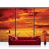 Papel Pintado Fotográfico Premium Plus fotográfico pintado–cuadro de pared–Natural Papel Pintado quemador Saco de heno Nubes puesta del sol Naranja–No. 2936, Naranja, Fototapete 368x254cm | PREMIUM Blue Back
