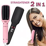 2-in-1 Hair Straightener - Ionic Heating Technology - Heated Brush Hair Styler - Women's Hair Brush w/ Anion Moisturizing - Auto Shut Off, Anti-Scald