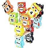 Gobus coloratissimi Blocchi di Legno Gufo impilabile Mattoni Giocattoli Set Gioco di Equilibrio per Le Parole Numero di apprendimento dei Bambini