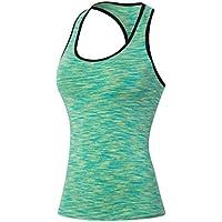 qutool Gilet da corsa sportiva da donna senza maniche Canotta Yoga, Fitness Formazione stretti, donna, verde, L