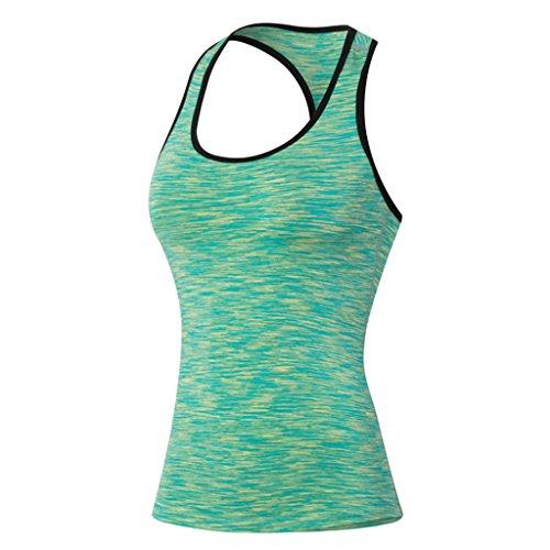Qutool, Sport-Oberteil, enges, ärmelloses Tank Top für Damen zum Laufen, Yoga, Fitness, Training-Tops Small grün