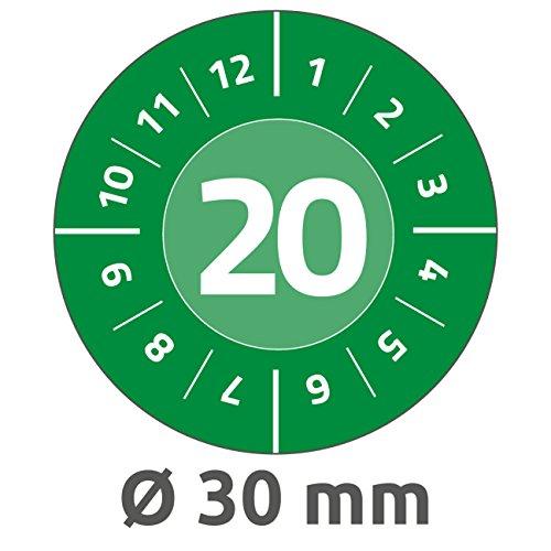 Avery Zweckform 6946-2020 Prüfplaketten (80 Prüfaufkleber, abziehsichere Folie, Jahreszahl 2020, Ø 30 mm, im praktischen Block) grün