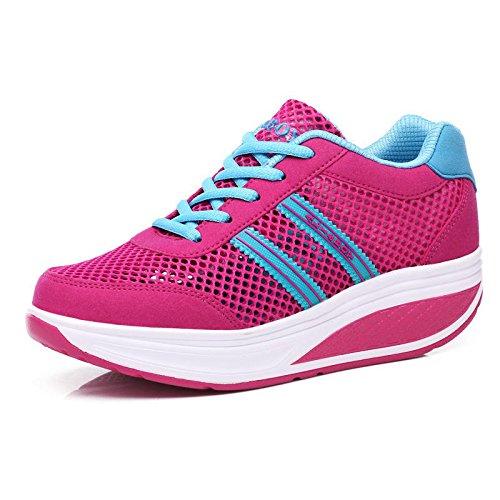Été nouvelle secoua ses chaussures respirant chaussures de sport casual chaussures de plate-forme pente avec une seule chaussure plum red