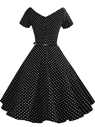ILover Frauen 1950er V-Ausschnitt Vintage Rockabilly Swing-Abend-Partei-Kleid V091-BlackDots
