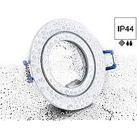 Spot IP44aluminio Foco–color blanco redondo–con clic y glasabdeckung–para zonas húmedas baño