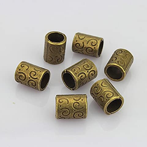 LolliBeads (TM) Jewelry Making Antique Brass Bronze Vintage Style Flat Bead Spacer (30 Pcs)