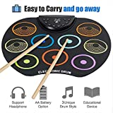 HUIJIN1 Digital Electronic Drum, Roll up Drum Pad Kits 9 Pads Portable Folable Practice Instrument mit FußPedalen und Trommelsticks USB