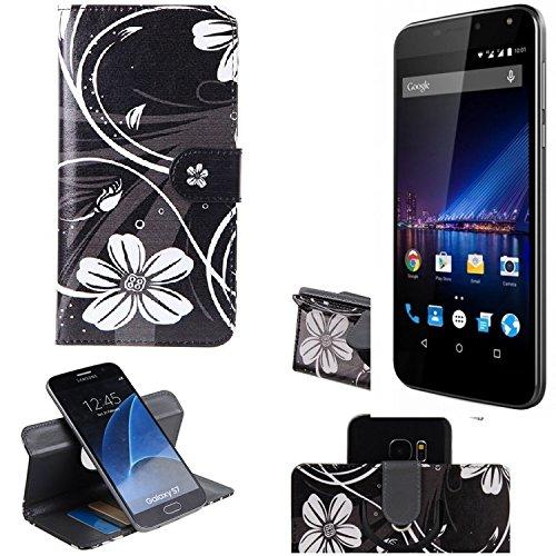 K-S-Trade Schutzhülle für Phicomm Energy 3+ Hülle 360° Wallet Case Schutz Hülle ''Flowers'' Smartphone Flip Cover Flipstyle Tasche Handyhülle schwarz-weiß 1x