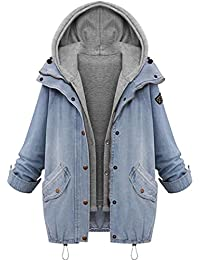 SHOBDW Mujeres de Invierno cálido Collar con Capucha Abrigo Chaqueta de Mezclilla Trinchera Parka Outwear