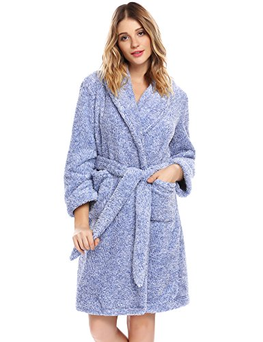 ADOME Damen Frottee Bademantel mit Schalkragen Kimono Morgenmantel Weich Bequem Plüsch Saunamantel Nachtwäsche Super Flauschiger Knielänge (Plüsch-kimono)