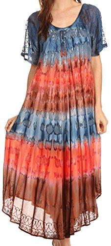 Sakkas 17506 - Sula Lange geschnürtes Viskose Tie-Dye-Weithals Bestickt Boho Sundress Cover Up - Grau/Coral - OS