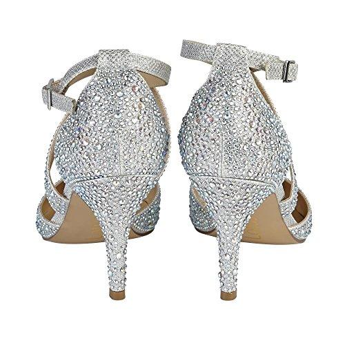 Lotus Star, Chaussures À Talons Avec Plate-forme Femme Argent (argent / Diamant)