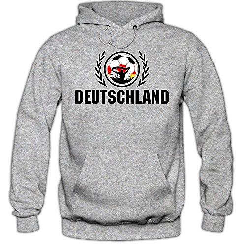 Deutschland WM 2018 #2 Hoodie   Fußball   Herren   Die Mannschaft   Trikot   Nationalmannschaft © Shirt Happenz, Farbe:Graumeliert (Greymelange F421);Größe:XL