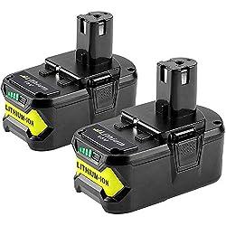2 X 5500mAh Dosctt Batterie Remplacement pour Ryobi RB18L50 18V 5,5Ah Li-Ion ONE+ RB18L50 RB18L40 RB18L25 RB18L15 RB18L13 P108 P107 P122 P104 P105 P102 P103