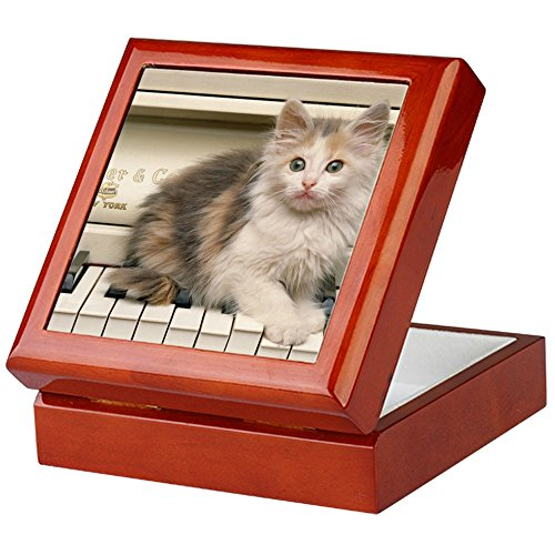 CafePress-PIANO Kätzchen Panel Print-Keepsake Box, fertig Hartholz Jewelry Box, Samt Gefüttert Memento Box mahagoni (Cat Piano-meow)