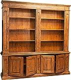 Libreria Country in legno massello di tiglio finitura noce 230x47x235 cm