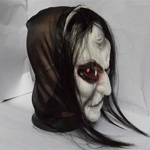 (ysoutstripdu Scary Schwarz Lang Haar Blooding Ghost Maske Cosplay Halloween Kostüme Party Prop Maske)