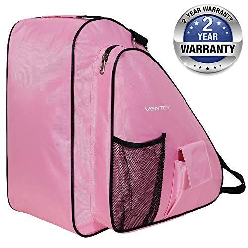 VENTCY Skischuhtasche schlittschuhe tasche tasche schlittschuhe Eislauf Rollschuhetasche Kinder Skifahren Nylon rollschuhe tasche mit Rucksackfunktion Wasserabweisend (Pink)
