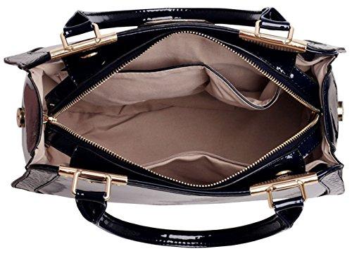 LeahWard® Übergröße Patent Schulter Taschen Damen Mode Essener Qualität Modisch Tote Handtaschen CWS00380 (OXFORD blau Tragetasche) Schwarz