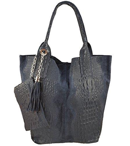 Damen Echtleder Shopper mit Schmucktasche in vielen Farben Schultertasche Henkeltasche Handtasche Metallic look Dunkelblau Kroko