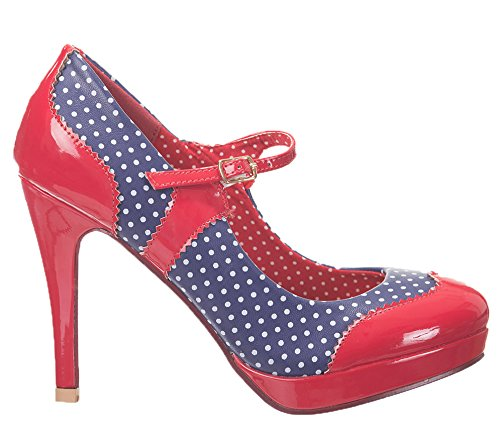 Dancing Days by Banned Damen Pumps - Mary Jane Rot Marineblau / Rot