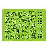 lebensmittelkontakt Silikon Aufklebbarer Platzdeckchen für Kleinkinder/Babys/Kinder/Kids–100% BPA-frei und FDA genehmigt–Spaß und lehrreich Tisch MATS–30,5x 40,6cm, grün von jamhoo