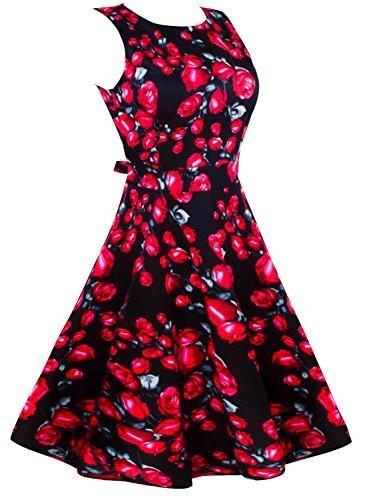 Angerella Vintage 1950's Floral Printemps Garden Picnic Party Dress Robe de Cocktail Rouge