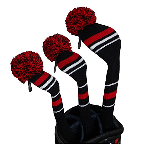 Black Red White Stripes Warning Color Style Knit Golf Headcover, Set of 3 for Driver Wood(460cc) Fairway Wood and Hybrid/UT