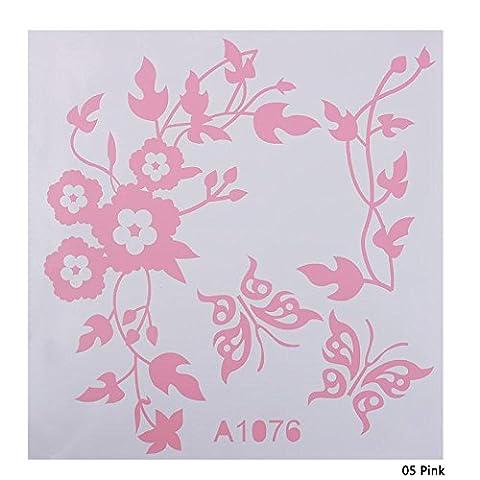 Autocollant de décoration pour salle de bain Calistouk - Pour cuvette de toilette, table ou décor mural, rose