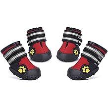 Petacc 4Pcs Botas Perros Impermeable Zapatos Perro para Mediano y Grandes Perros (Rojo-8#)