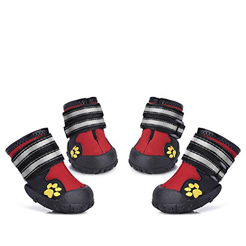 Petacc Wasserdichte Hundeschuhe Anti-Rutsch Haustier Schuhe Warme Hunde Stiefel Gummi Haustier Stiefel Pfotenschutz für Hund, 4-er (4)