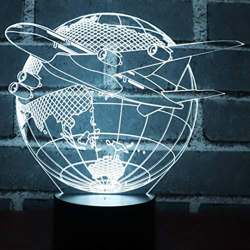 Luz Nocturna, 3D Led Luz De La Noche Avión De La Tierra Plana Con 7 Colores De Luz Para La Decoración Del Hogar Lámpara Increíble Visualización Ilusión Óptica