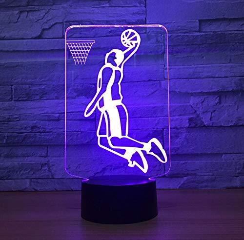 Acryl 3D LED Nachtlicht Slam Dunk Spielen Basketball 3D Lampe Beleuchtung 7 Farbwechsel Sport Hause Raumdekoration Beste Freunde Kind Geschenk (Dunk Spiel Slam Basketball)