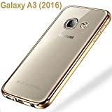 Samsung Galaxy A3 (2016) Schutzhülle Tasche Durchsichtig Transparent - Rand Gold