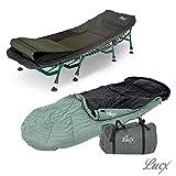 Lucx® Set / Karpfenliege / Angelliege Komfort / 8 Bein Bedchair + Schlafsack Nightcat / Sleeping bag