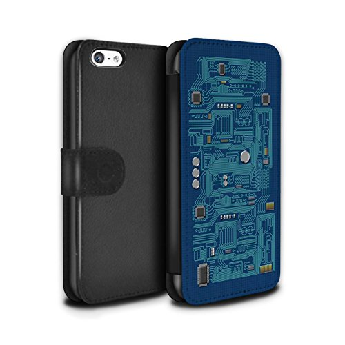 Stuff4 Coque/Etui/Housse Cuir PU Case/Cover pour Apple iPhone 5C / Vert Design / Circuit Board Collection Bleu