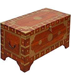 Theshopy Wooden Hand Made Trunk Box With Brass Ftd A512