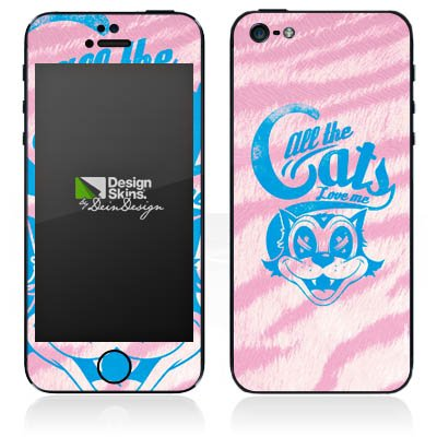 Apple iPhone 4s Case Skin Sticker aus Vinyl-Folie Aufkleber Katze Grinsekatze Rosa DesignSkins® glänzend