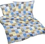 Carpe Sonno Seersucker Bettwäsche-Set Patchwork 240x220 cm blau kariert, 3-tlg Bettdecke und Kopfkissen-Bezug aus 100%-Baumwolle für Paare - Der bügelfreie & luftig leichte Bett-Bezug für den Sommer