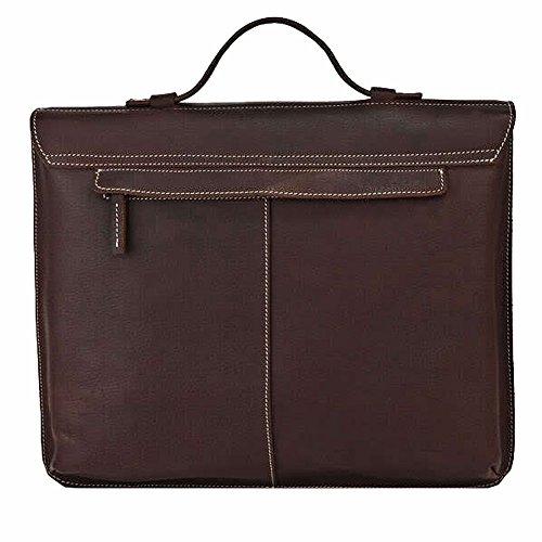 Othilar Herren Büffelleder Tasche Handtasche Aktentasche Schultertasche für Büro Reise (Dunkelbraun) Dunkelbraun