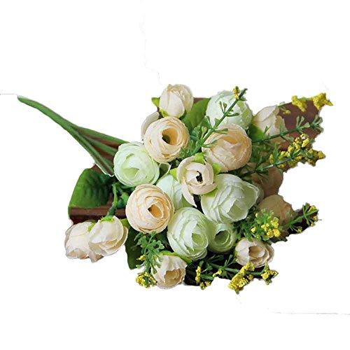 Alaso Fleurs Artificielles,Fausse Fleur, Bouquet de Pivoine, Artificiel Mariage Pivoine Bouquet avec 21 Tête Simulation Soie Fleur pour Maison Fête Mariage Table Déco