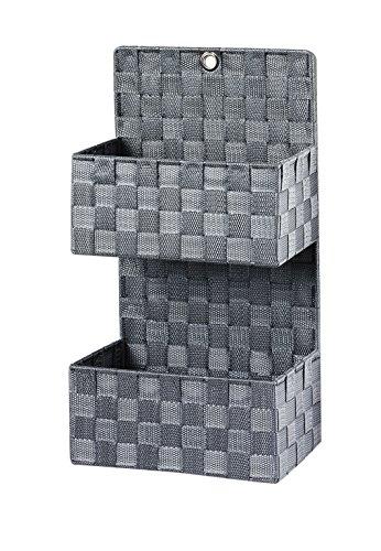 korb Wandkorb Nylon mit 2 Fächern auf Metallrahmen geflochten grau (Sortierung Board)