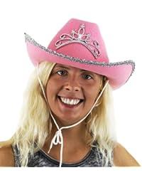 Mesdames chapeau de cowboy rose avec le diadème. partie de poule de fantaisie accessoire de robe