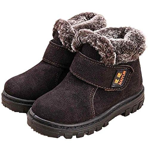 Kinderschuhe Longra Winter Baby Mädchen Jungen Mode Schneestiefel Winter Baby Kinder Stil Baumwolle warme Stiefel (1-6 Jahre) Coffee