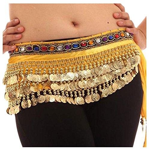 J.O.Y Farbe Diamant Jeweled Gold Münzen Perlen Hip Taille scraft Wrap Bauch Dance Rock kostüm frauen damen Mädchen, gelb