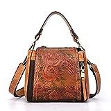 JIAOO Frauen Vintage Rindsleder Henkeltasche Wasserdicht Stylischer Messenger Bag Moderner Schlicht Handtasche (Kaffeefarbe)