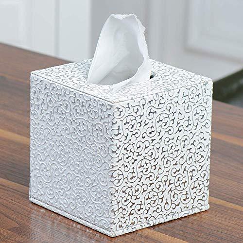 Gewebe Box Hotel Quadratisch Dekoration Auto Home Wc Aufbewahrung Papier Halter Prägung Büro Praktisch Modisch Kunstleder (Gold) - Silbern, free size
