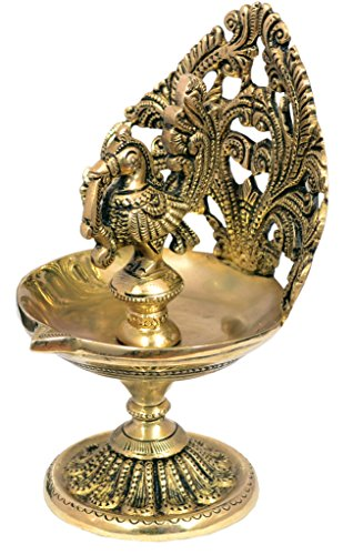 Nexplora Industries Fine Quality Bird Design Brass Diya Deepak Oil Lamp In Glossy Black Antique Finished Puja Item Home Decor Fengshui Gift