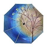 ALAZA Fall-Baum mit blauem Himmel wirbelnde Gemälde Regenschirm Reise Auto Öffnen Schließen UV-Schutz-windundurchlässigem Leichten Regenschirm
