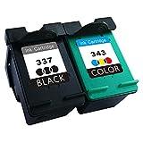 TooTwo 2 Pack 337 343XL Cartouches d'encre remplacement pour HP 337 HP 343XL (1 Noir + 1 Tricolore)compatibles pour Imprimante Photosmart 2570, 2573, 2575, C4100, C4140, C4150, C4160, C4180, C4183, C4188, C4190, D5100, D5145, D5155, D5160, D5163, D5168, 8049, 8050, 8750, Officejet H470, H470b, H470wbt, 6300, 6310, 6313, 6315, K7100, Pro K7103, K7108, Deskjet 5940, 5943, 6940, 6980, D4145, D4155, D4160, D4163, D4168